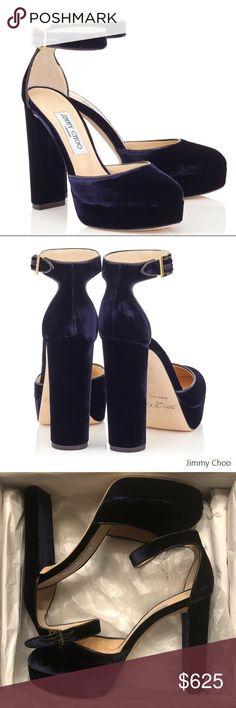 Authentic Jimmy Choo Daphne Navy Velvet Platforms Brand New 8df108fbcf140