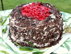 Black Forest Cherry Torte               (Schwartzwälder Kirschtorte)           Kirsch soaked chocolate sponge cake with whipped cream, chocoalte and cherry filling, iced with whipped cream and chocoalte shavings.