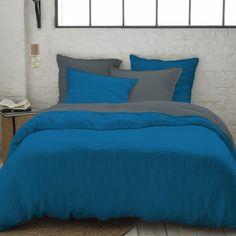 Parure 100% lin lavé couleur bleu canard et gris carbone