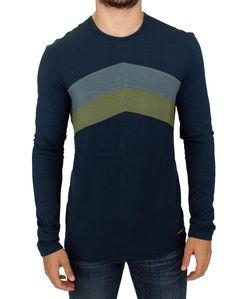Blue Stretch Slim Fit Crewneck Sweater