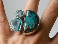 unique gemstone ring turquoise ring blue topaz ring blue by gemfan