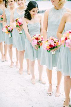 Seafoam dresses with bright florals: http://www.stylemepretty.com/2014/11/10/summer-new-jersey-lakeside-wedding/ | Photography: Love & Light - http://loveandlightphotographs.com/