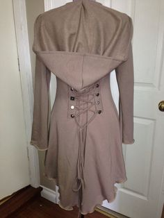 corset laced Taupe bamboo steampunk hoody pixie fairy