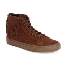Vans 'Sk8-Hi' Moc Sneaker ($80) ❤ liked on Polyvore featuring shoes, sneakers, bison suede, vans shoes, fringe sneakers, lace up high top sneakers, hi tops and rubber sole shoes
