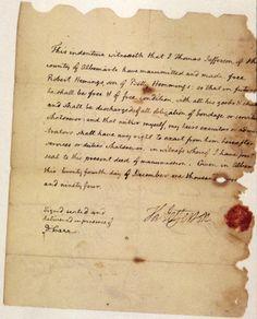 Jefferson's deed of manumission for Elizabeth Hemings's son, Robert Hemings, 1794.