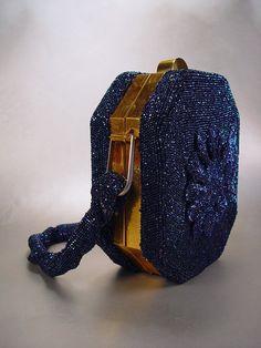 FreMor Original Beaded Box Purse Blue Carnival Glass...Wow! Soooo 1940s Luxurious! $229.00