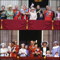 At Prince George's first balcony appearance,  he is wearing his father William's blue outfit from his first time on the Palace balcony.