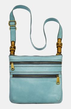 I bought this today! Matched my turquoise jewelry, cowboy boots and my ipad fits inside. Leather Crossbody Bag, Leather Handbags, Handbag Accessories, Fashion Accessories, Fossil Handbags, Fashion Bags, Fashion Clothes, Leather Shoulder Bag, Shoulder Bags