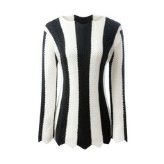Black And White Striped Long Sleeve Jumper WHITE AND BLACK: Sweaters |... ❤ liked on Polyvore featuring tops, sweaters, black and white striped sweater, long sleeve sweater, black and white top, striped top and black and white jumper