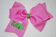 Embroidered Preppy Whale Big Hair Bow Custom Boutique Pink Green Fish Ocean Beach