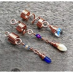 Set of 3 Copper Purple Dread Beads