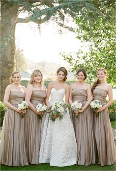 Khaki In Spring Summer Or Fall Weddings Bridesmaids Dresses Gold