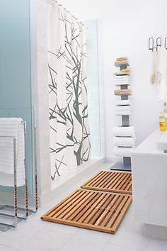 9. Sold Wood Bath Mat- elevate your bathroom design with a modern take on a Japanese classic. Added bonus- never step on a soggy bathmat again.