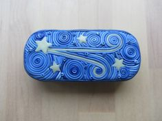 Shooting Star Glow in the Dark Tin  Blue Polymer by ColorfulClay