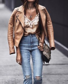 Tan + denim.