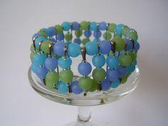 Periwinkle Blue Light Green Sky Blue Beaded Safety Pin Bracelet | MyHeartBeads4U - Jewelry on ArtFire