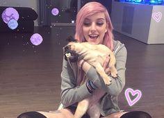 Alex Dorame with her pug, Lola