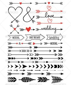 Buy Hand-drawn Wedding Arrows Set by amourfou on GraphicRiver. Hand-drawn wedding arrows, set of vector design elements AI EPS 8 and high resolution JPG pixel included Arrow Svg, Arrow Font, Bullet Journal Inspiration, Vector Design, Design Web, Type Design, Graphic Design, Logo Design, Doodle Art