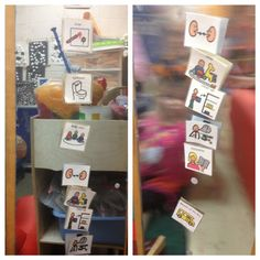 Vertical visual schedule with simple picture cues mounted on a mobile mirror. #sjsd www.sjsd.k12.mo.us/preschool