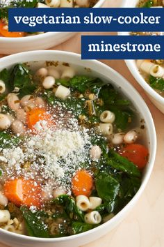 Vegetarian Slow-Cooker Minestrone – Springtime tastes better than ever with this vegetable soup dish. Explore this tasty recipe today to learn how to create such a classic creation with navy beans, carrots, pesto, spinach, and Parmesan cheese.