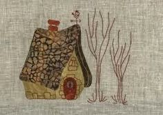 Eva Gustems en Febrero en La Tertulia House Quilt Block, House Quilts, Fabric Houses, Quilt Blocks, France Patchwork, Japanese Patchwork, Little Cottages, Landscape Quilts, Sewing Appliques