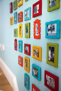 Love this for the playroom! Pictures of the kids in colorful frames! Our house is so colorful so I want to make the playroom super colorful too Colorful Playroom, Colorful Frames, Playroom Ideas, Playroom Colors, Galley Wall, Ideas Habitaciones, Baby Room Wall Decor, Baby Decor, Metal Tree Wall Art