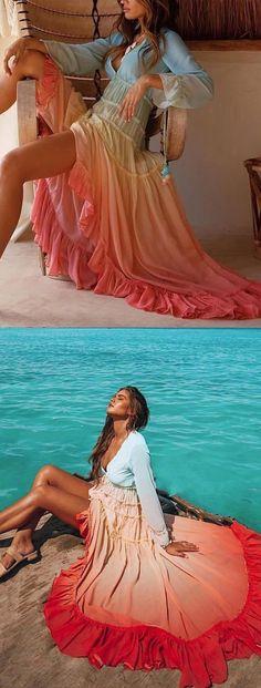 【$43.38 USD】Fashion Gradation V Neck Waist Maxi Dresses #rainbow #beachoutfits #maxidress #color
