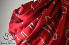 Custom Hand-painted Script Pashmina Script Maroon Scarf (Viscose/Acrylic blend) - Made to Order