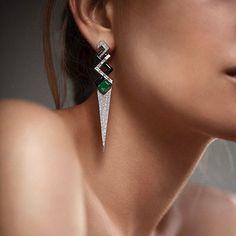 Nikos Koulis (@nikoskoulisjewels) on Instagram: V collection #earrings with #whitediamonds and #emeralds for bold jewelry lovers #nikoskoulisjewels