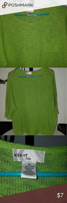 Knit top Lime green knit top with pocket detail in front. Has a somewhat slouchy fit to it. Tops