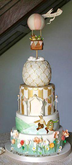 Whimsical hot air balloon carnival wedding cake