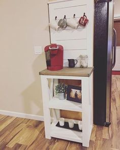 """DIY coffee bar for small spaces, by """"rusticvalleycustoms"""" on IG, modified from http://www.ana-white.com/2012/05/plans/rustic-x-console"""