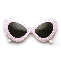 - Description - Measurements - Shipping - A fun oversized version of 50s-inspired cat eye sunglasses with fun bright colors and adorable polka dots. Great for novelty use, parties, photo booth or as a