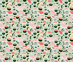 sushi fabric by kristinnohe on Spoonflower - custom fabric