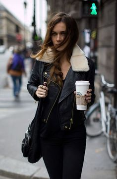 Leather and fur coat with side braid