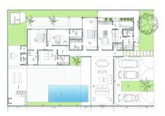 Esquadra Arquitetos - detalhes do projeto Casa Patio, Villa Plan, Floor Plants, A Frame House, Courtyard House, Modern House Plans, Architecture Plan, Pent House, Exterior Design