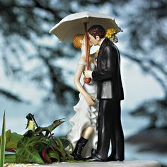 Wedding Cake Topper - Showered With Love Wedding Cake Topper. Romantic wedding cake topper features the bride and groom kissing under an umbrella. Funny Wedding Cake Toppers, Bride And Groom Cake Toppers, Wedding Topper, Rainy Wedding, Wedding Day, Spring Wedding, Wedding Venues, Autumn Wedding, Wedding Decoration