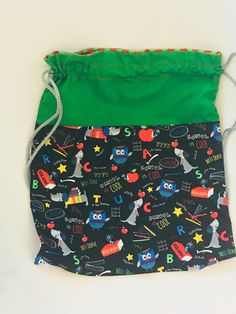 Drawstring school bag lined by SewnInLoveCreations on Etsy