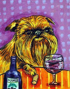 Brussels Griffon Dog Art Print Abstract Folk Pop Art Jschmetz 8x10 Wine Art | eBay