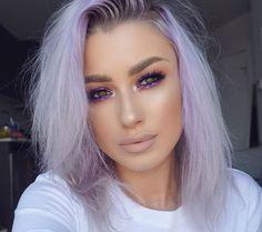 violet vixen liquid shadow on eyes nood lipstick lined with stone pencil Arctic Fox Hair Color, Permanent Hair Dye, Lavender Hair, Hair Locks, Pinterest Hair, Coloured Hair, Grunge Hair, Free Hair, Silver Hair