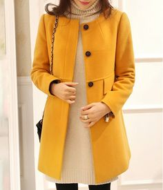 Chic Round Neck Long Sleeve Single-Breasted Coat For Women