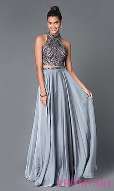 Long, Two Piece Beaded High Neck Prom Dress at PromGirl.com