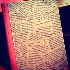 DIY composition book, painted pink and then covered with country music lyrics and glue!