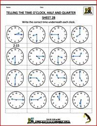 Telling the Time - O'clock, Half and Quarter Sheet 2B