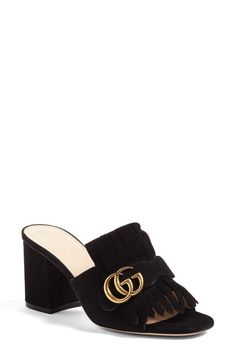 Gucci Gucci GG Marmont Peep Toe Mule Women available at #Nordstrom