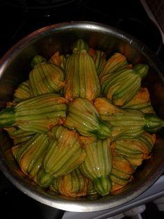 stuffed zucchini flowers ready to cook
