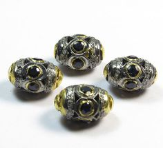 1 Pcs 925 Sterling Silver Diamond  Blue Sapphire Beads by GEMSICON