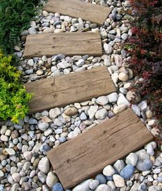 Wood planks and stone walkway