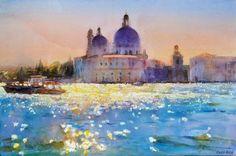 Cecil Rice watercolor, Venice