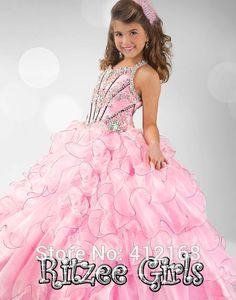 2015 vestido de noiva promoção 6343 frisado strass projeto Backless Glitz Pageant vestido Ritzee meninas vestido de baile Prom em Vestidos de Dama de Honra de Casamentos e Eventos no AliExpress.com | Alibaba Group